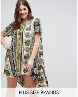 Plus Border Print Swing Dress