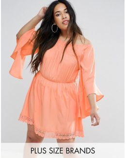 Plus Flutter Sleeve Dress