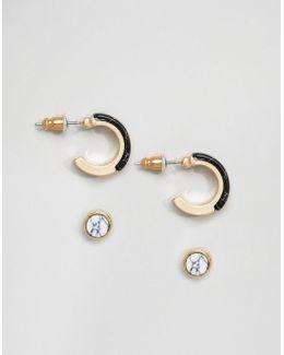 Pack Of 2 Semi Precious Earrings