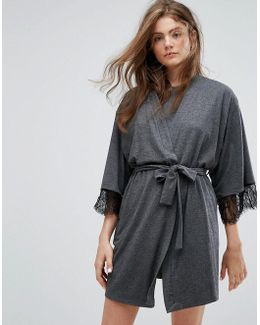 Jersey Robe With Lace Trim
