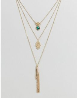 Hamsa Hand Tassel Multi Layered Necklace
