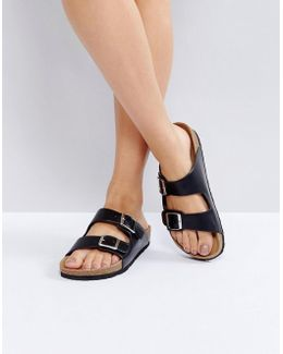 Double Buckle Flat Sandal