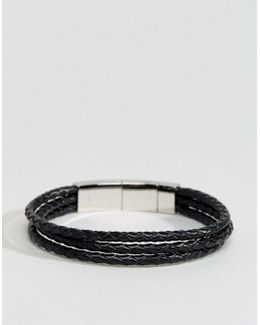 Leather Wrap Bracelet In Black