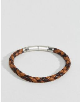 Plaited Leather Bracelet In Brown