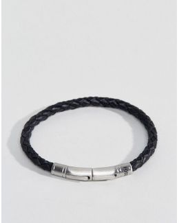 Plaited Leather Bracelet In Black