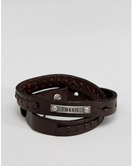 Logo Leather Cuff Bracelet In Brown