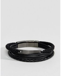 Woven & Leather Bracelets In Black