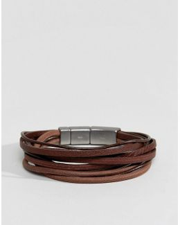 Leather Wrap Bracelet In Brown