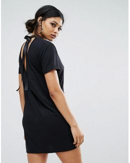 T-shirt Dress With Tie Open Back