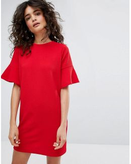 T-shirt Dress With Frill Sleeves