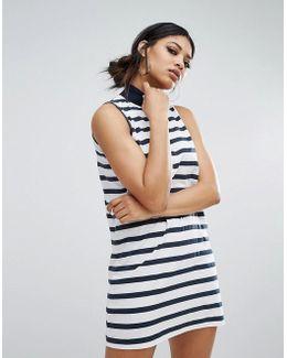 High Neck Swing Dress In Stripe