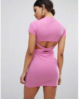 Bodycon Dress With Cross Back Cutout