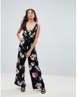 Floral Ruffle Jumpsuit By Band Of Gypsies