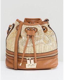 Raffia And Tan Bucket Bag