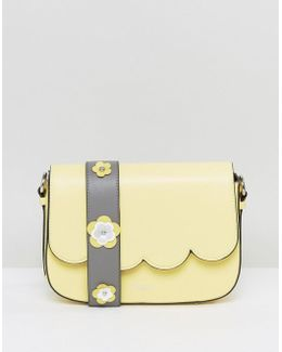 Yellow Scalloped Cross Body Bag With Floral Applique Strap