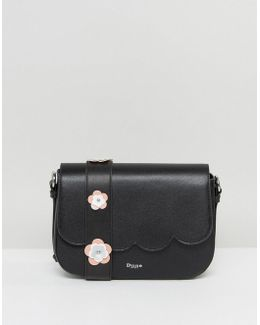 Black Scalloped Cross Body Bag With Floral Applique Strap