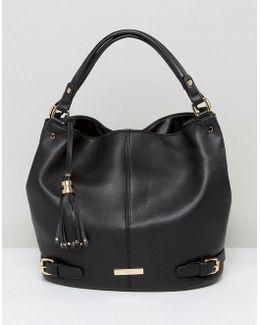 Smooth Slouchy Shoulder Bag In Black