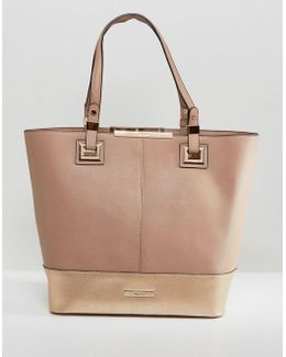 Taupe And Rose Gold Colourblock Shopper