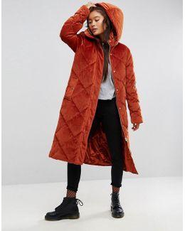 Longline Puffer Coat In Quilted Velvet