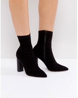London Sock Heeled Ankle Boots