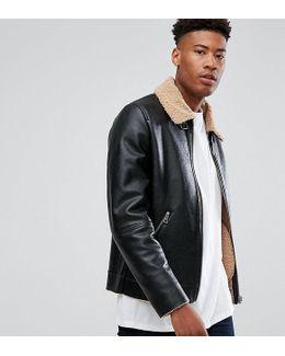 Tall Faux Shearling Jacket In Black