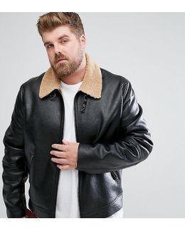 Plus Faux Shearling Jacket In Black