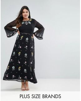 Embroidered Floral Maxi Dress With Fluted Sleeve