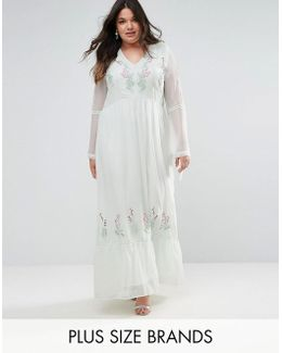 Embroidered Prairie Maxi Dress With Tie Detail