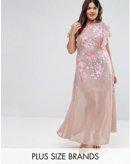 Rose Embellished Maxi Dress With Ruffle Sleeve