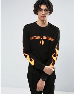 Long Sleeve T-shirt In Black With Flame Print