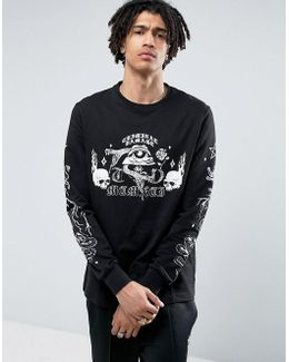 Long Sleeve T-shirt In Black With Skull Print