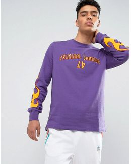 Long Sleeve T-shirt In Purple With Flame Embroidery