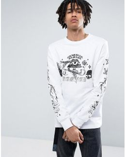 Long Sleeve T-shirt In White With Skull Print