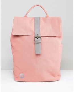 Fold Top Canvas Backpack In Rose Pink