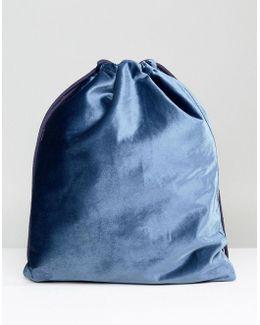 Velvet Drawstring Backpack In Petrol Blue