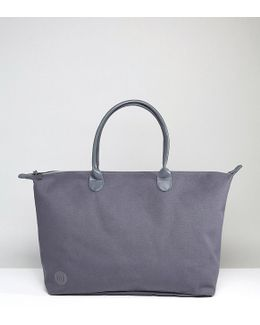 Canvas Weekender Bag In Charcoal Canvas