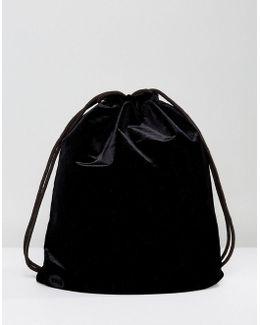 Velvet Drawstring Backpack In Black