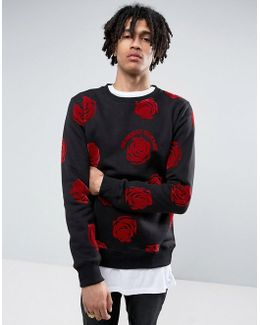 Sweatshirt In Black With Rose Print