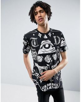 T-shirt In Black With Symbols Print