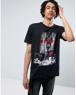 T-shirt In Black Clashed Print