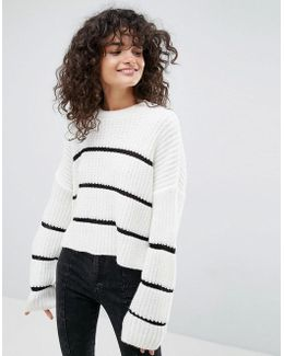 Chunky Sweater With Contrast Ladder Stitch