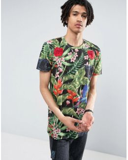 T-shirt In Black With Tropical Print