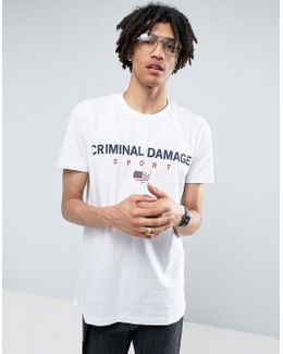 T-shirt In White With Usa Sport Logo
