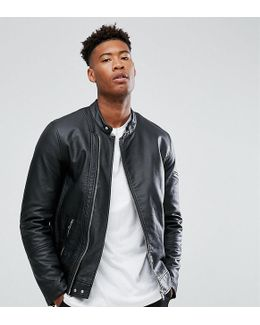 Tall Faux Leather Racing Jacket In Black