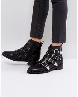 Academic Leather Stud Buckle Boots