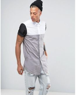 Regular Fit Super Longline Cut And Sew Shirt In Grey