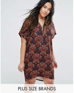 Plus Paisley Zip Through Dress