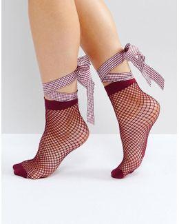 Fishnet Gingham Bow Strap Ankle Socks