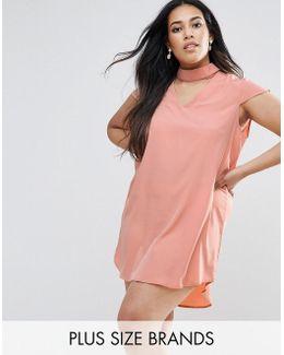 Plus Choker Detail Short Sleeve Dress