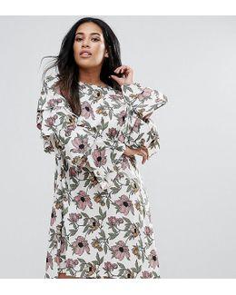 Plus Ruffle Sleeve Dress